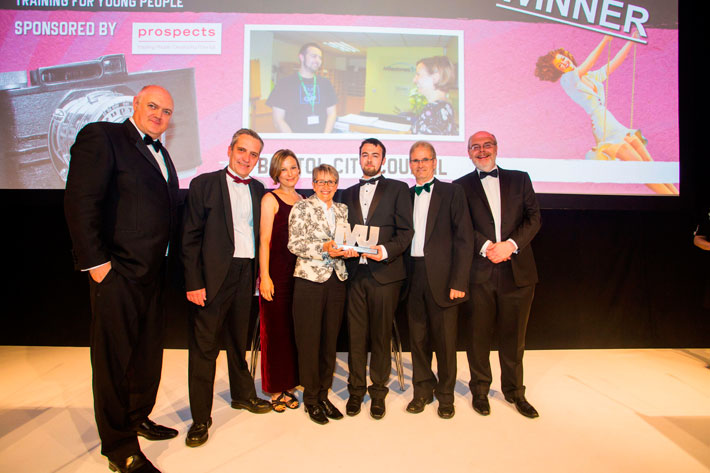 Innovation in Education, employment and training for young people Award winners - Dara O'Briain, Paul Gaunt, Julia Gear-Evans, Jane Taylor, Cameron Jones, Paul Jacobs, Nick Bell (Prospects)