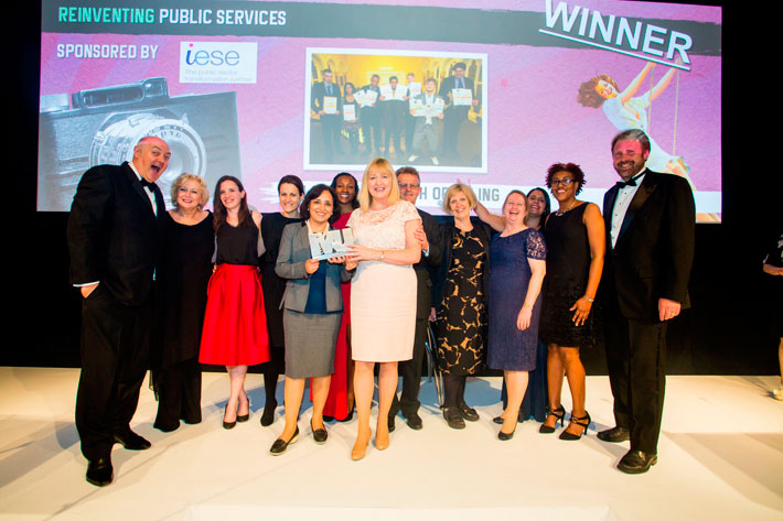 Reinventing Public Services Category Award winner - Dara O'Briain, Dorothy Duffy , Anna Thomas, Hannah Foxcroft , Cllr Binda Rai, Shontelle Harries, Marcella Phelan, Gary Redhead, Chris Hogan , Mary Umrigar, Sharon Mahoney, Dr Andrew Larner (iESE)