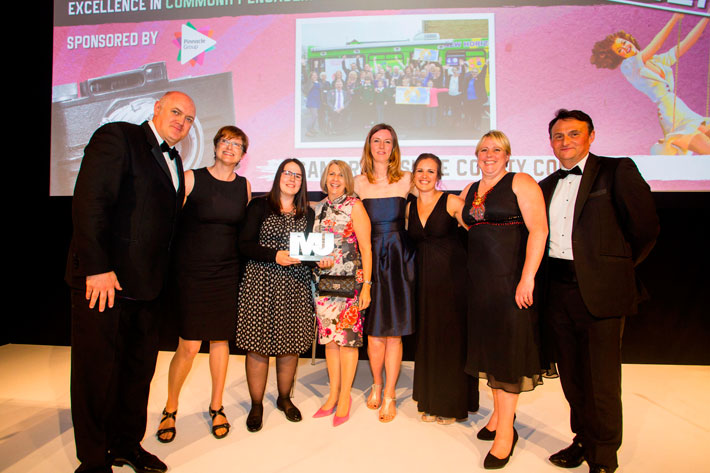 Excellence in Community Engagement Award winners - Cambridgeshire County Council - Dara O'Briain, Wendy Lansdown, Lauren Clarke, Yannick Auckland, Rosie Farrer, Becky Booth, Meredith Teasdale, Andy Cook (Pinnacle Group)