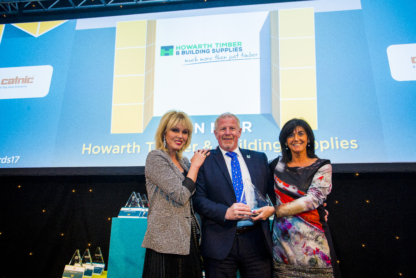 Winner of Marketing Initiative of the Year; Dara O'Briain, Raveena Punee, Marketing Executive - Jewson and Christine Wilde, Managing Director, Catnic