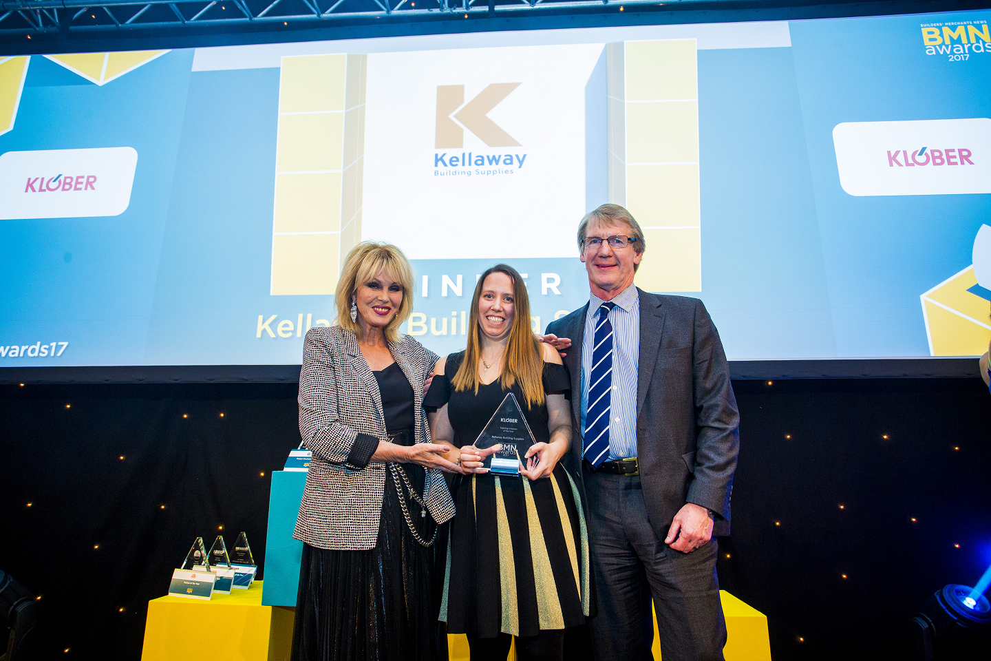 Winner of Training Initiative of the Year; Joanna Lumley, Abigail Tovey, Personnel and Welfare Manager Company - Kellaway Building Supplies, Adrian Fishley, Sales Director - Klober Ltd