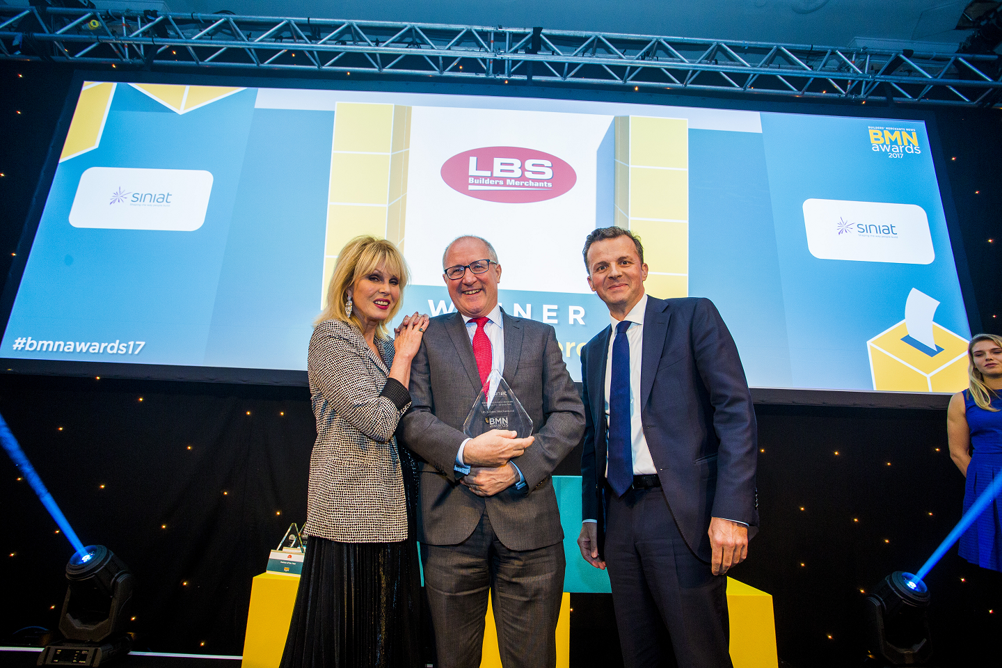 Winner of Independent Builders' Merchant of the Year (11 - 20 branches) - Joanna Lumley, Mark Davies, Managing Director - LBS Builders' Merchants Ltd  , Andrew Tait, Sales & Commercial Director - Siniat