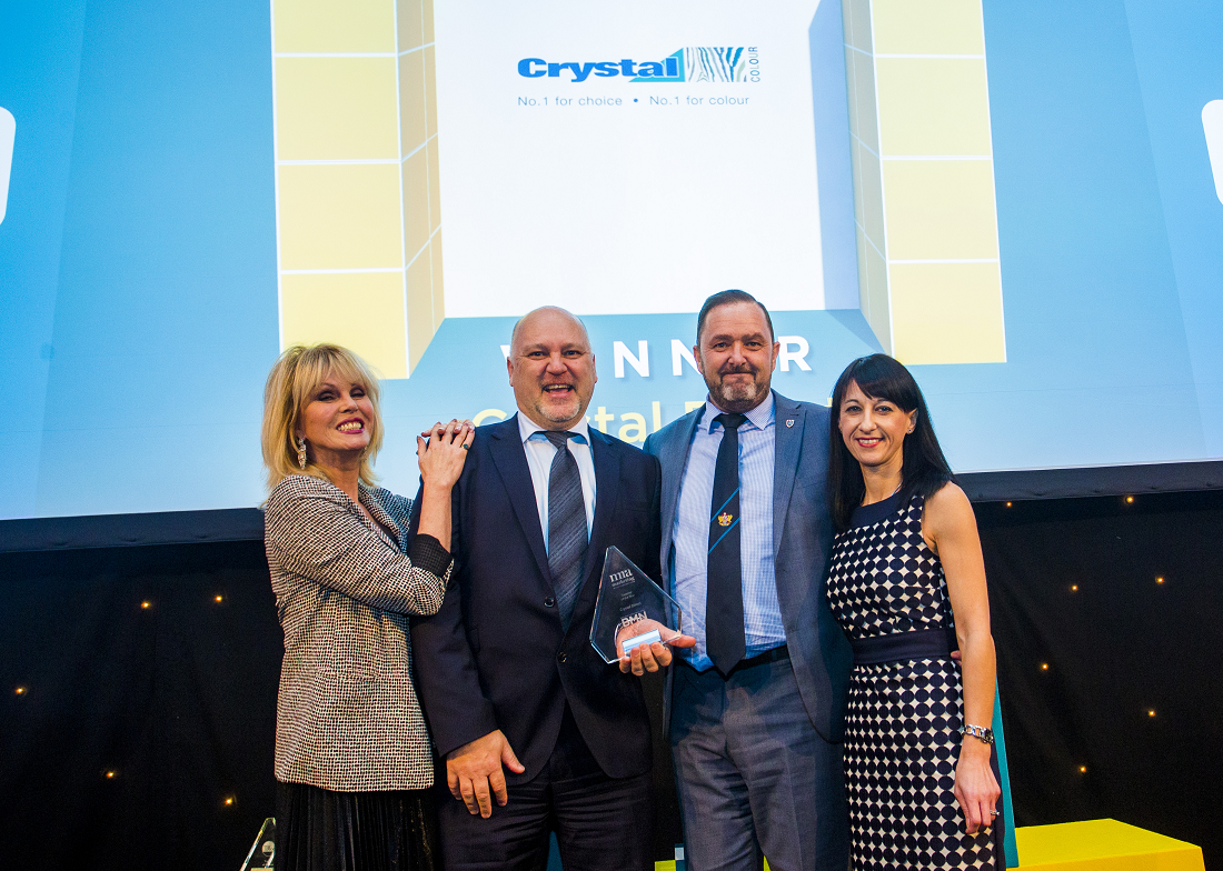 Winner of Supplier of the Year - Joanna Lumley, Martin Randall, Chairman - Crystal Direct, Steve Halford, Managing Director - Crystal Direct, Lucia Di Stazio, Managing Director - MRM Marketing