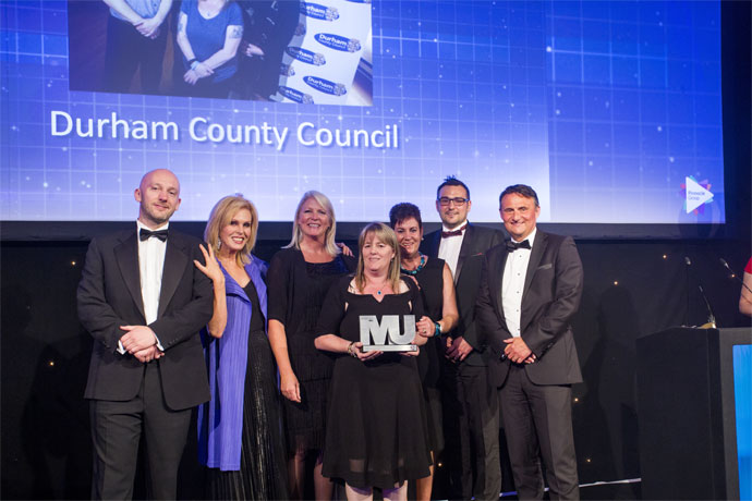 Excellence in Community Engagement Category Award winners - Durham County Council- Brian Daniel, Joanna Lumley, Vanessa Glover, Fiona Gosling, Kath Winter, Cllr Carl Marshall, Andy Cook (Pinnacle Group)