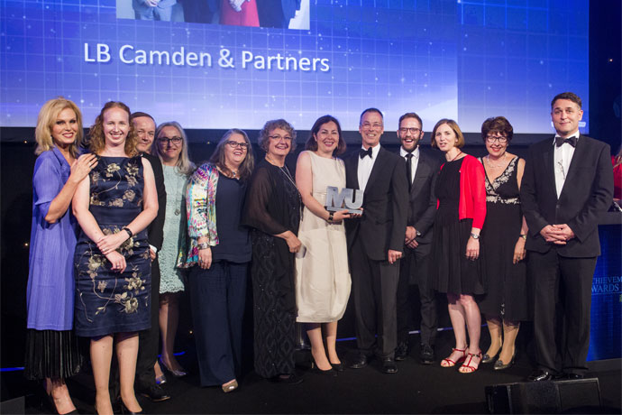 Reinventing Public Services Category Award winners - London Borough Camden & Partners -  Joanna Lumley, Anna Bryden, Jonathan O'Sullivan, Melanie Smith, Gaynor Driscoll, Jan Clark, Mary Cleary Lyons, Mike Cooke, Simon Reid, Ruth Hutt, Laura McGillivray (iESE), Adrian Kelly
