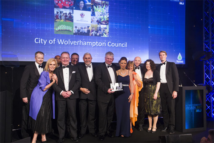 Senior Leadership Team Category Award winners - City of Wolverhampton Council - Ian Fegan, Joanna Lumley, Cllr Milkinderpal Jaspal, Kevin O'Keefe, Mark Taylor, Cllr Peter Bilson, Keith Ireland, Laura Phillips, Linda Sanders, Tim Johnson, Claire Nye, Anthony Lewis (Penna)