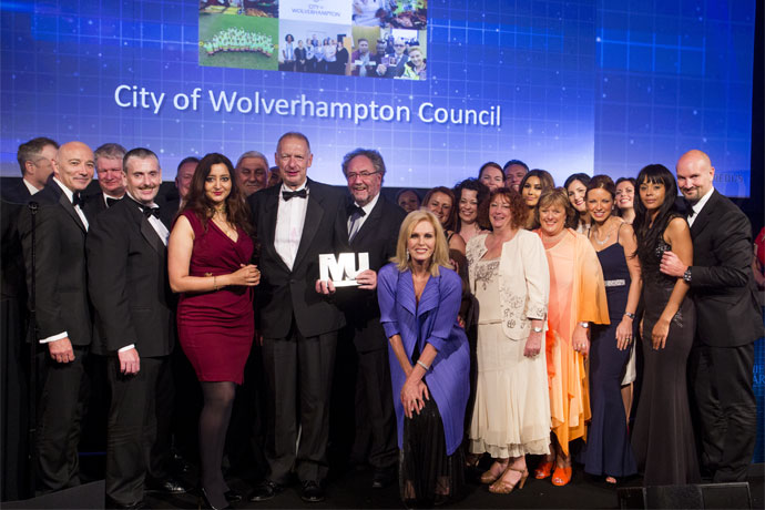 Most Improved Council Catergory Award Winners - City of Wolverhampton Council - Ian Fegan, Tim Johnson, Keith Ireland, Cllr Paul Sweet, Kevin O'Keefe, Saty Sandu, Cllr Peter Bilson, Cllr Andrew Johnson, Cllr Roger Lawrence, Genine Hadley , Joanna Lumley, Emma Bennett, Claire Nye, Ros Jervis , Cllr Val Gibson , Mark Taylor, Savreena Kaur, Linda Sanders, Rachel Ratcliffe, Laura Phillips, Sophie Pagett, Emma Harriott, Jonathan Swain (Veredus)