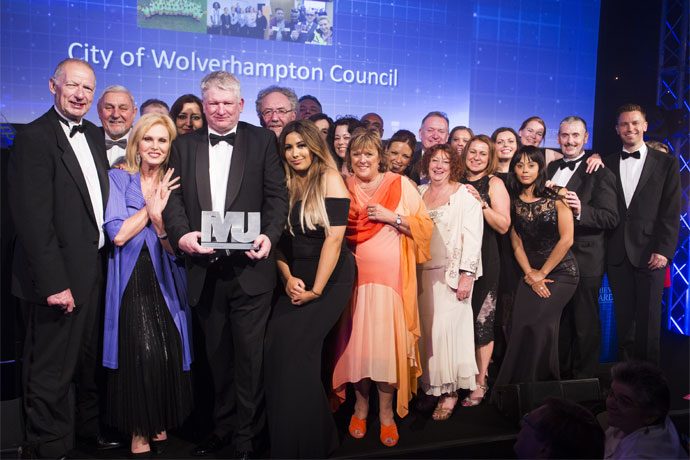Local Authority of the Year Category Award Winners - City of Wolverhampton Council - Cllr Andrew Johnson, Councillor Peter Bilson, Joanna Lumley, Ian Fegan, Saty Sandu, Keith Ireland, Cllr Roger Lawrence, Savreena Kaur, Mark Taylor, Rachel Ratcliffe, Claire Nye, Linda Sanders, Cllr Milkinderpal Jaspal, Laura Phillips, Kevin O'Keefe, Cllr Val Gibson, Genine Hadley, Emma Bennett, Sophie Pagett, Emma Harriott, Ros Jervis, Cllr Paul Sweet, Neil Lupin (Green Park)