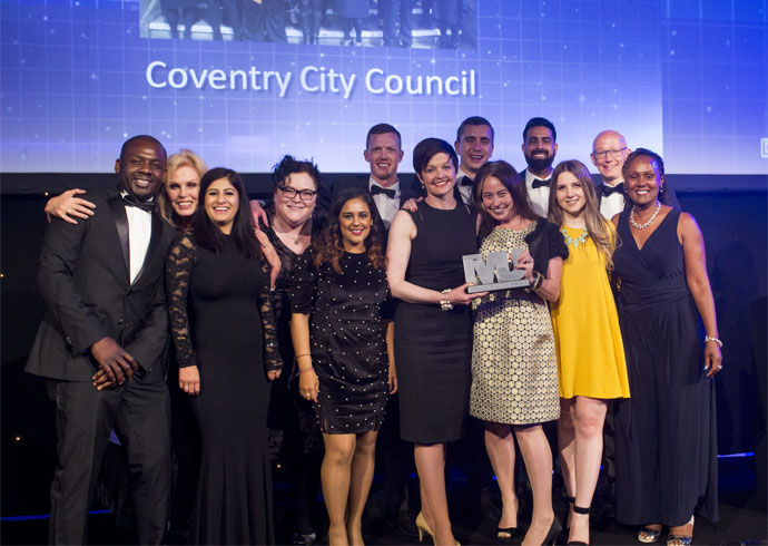 Legal Services Category Award Winners - Coventry City Council - Oluremi Aremu, Reema Bodalia, Gretchen Curtis-Wheeler, Reena Sharma, John Redfern, Helen Lynch, Richard Dickinson, Julie Newman, Gurbinder Singh Sangha, Elena Geamanu, Martin Reeves, Doreen Forrester-Brown (Lawyers in Local Government)