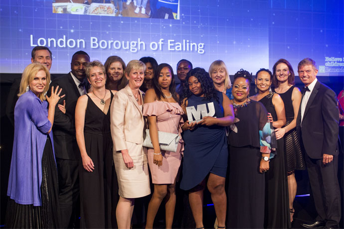 Impact and Learning in Children's Services - Category Award Winners - London Borough of Ealing - Joanna Lumley, Ian O'Donnell, Adrian Green, Carolyn Fair, Christina Evers, Judith Finlay, Sundeep Gill, Zainab Idirs, Cheryl Campbell, Leanne Alexander , Marcella Phelan, Deborah Weekes, Nerise Sallie, Penny Malecaut, Sam Monaghan (Barnardo's)